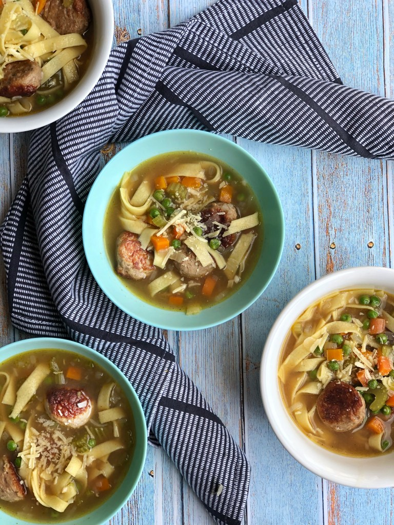 Meatball noodle soup in bowls.