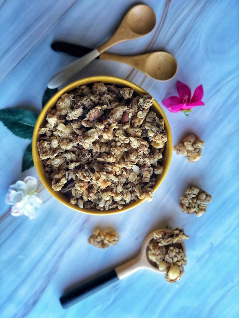 Healthy cookie granola in a yellow bowl.