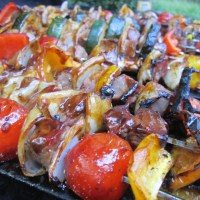 Grilled Beef and Veggie Kabobs with Asian Sauce