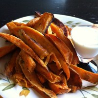 Baked Sweet Potato Fries with Greek Yogurt-Sour Cream Dipping Sauce