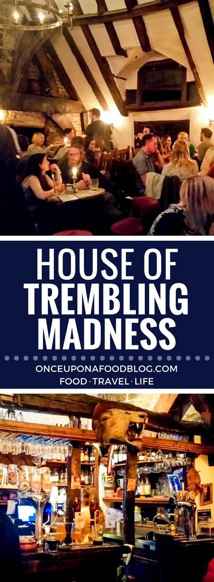"""We were lucky enough to find this quirky medieval beer house on a recent trip to York. The amazing range of beers, fantastic local food and warm atmosphere all come together to make this an unmissable jewel in York's crown. #houseoftremblingmadness #tremblingmadness #york #medievalpub #medievalbeerhouse #beerhouse"""" width="""