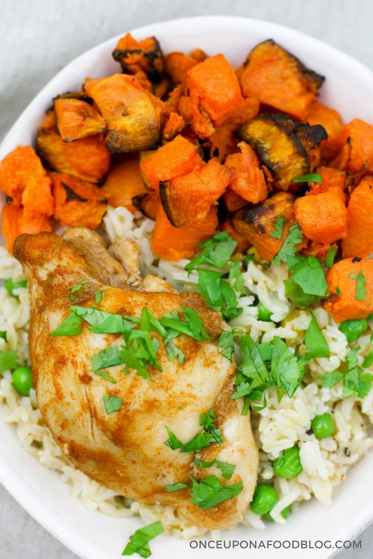 This baked chicken and sweet potatoes with garlic rice bowl is chock full of flavour. A perfect mid-week meal which I could eat for a week. #midweekdinner #quickandeasy #chickendinner #sweetpotatoes #onceuponafoodblog