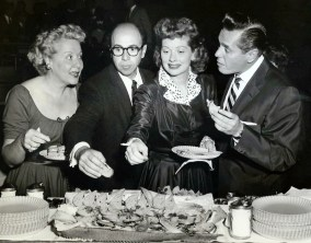 At a Press Party in 1955 - Vivian Vance, Jess Oppenheimer, Lucille Ball, Desi Arnaz