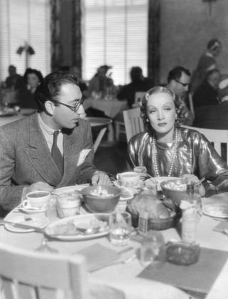 Marlene Dietrich with director Rouben Mamoulian at Paramount commissary