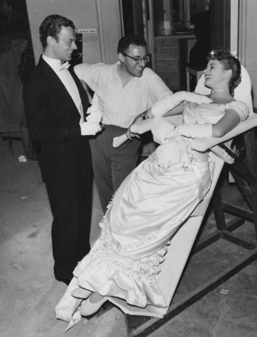Joseph Cotten, George Cukor and Ingrid Bergman on the set of Gaslight, 1944
