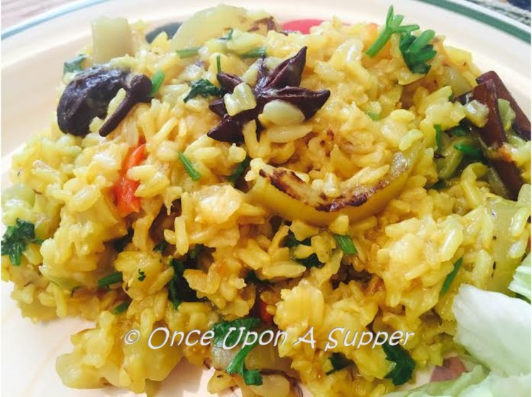 Roasted Bottle gourd Biryani (Calabash in spiced brown rice Pilaf)