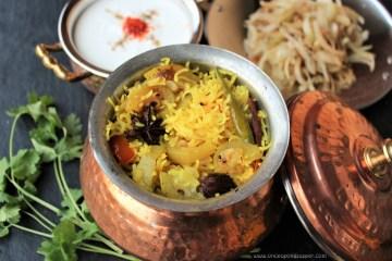 Pora Lau-er Biryani -- Dry roasted Bottle gourd (Calabash) in spiced Pilaf
