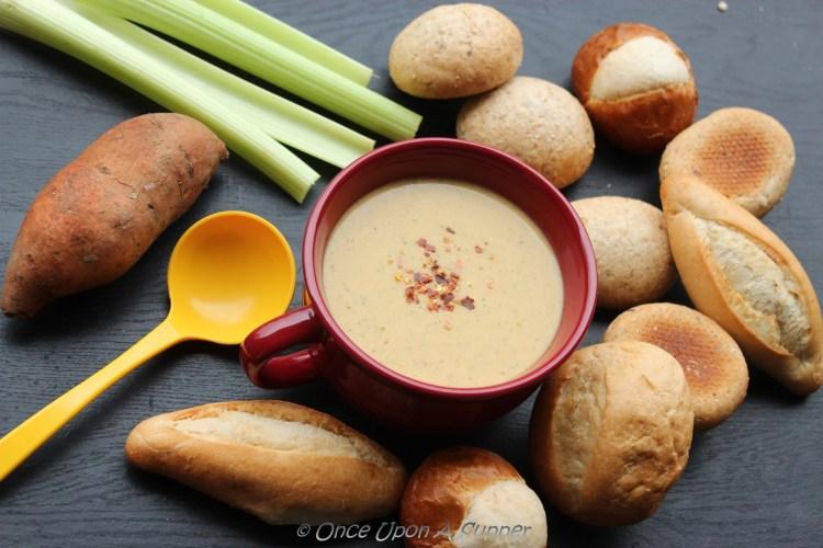 Hearty Celery & Sweet Potato Potage Soup — a French vegetarian recipe