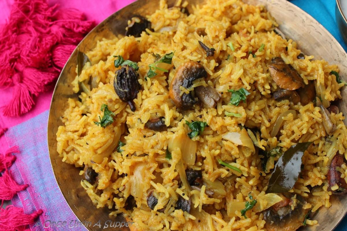 Mushroom Biryani or Spiced Mushroom Pilaf -- in Hyderabadi style