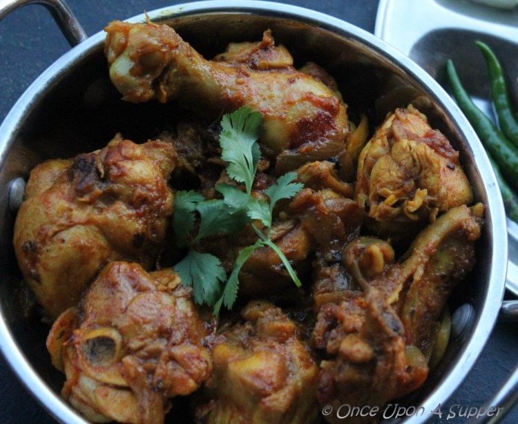 Bhuna Murgh or Kosha Murgir Mangsho -- South Asian Pan Seared spicy Chicken