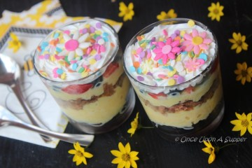 Crunchy wafers and fresh fruit Trifle -- an easy, no-sweat party dessert