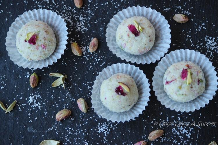 Pistachio Rose and Coconut Laddu