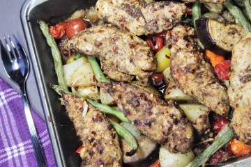 One-tray spicy Chicken and Veggie Bake -- a super easy oven dinner recipe