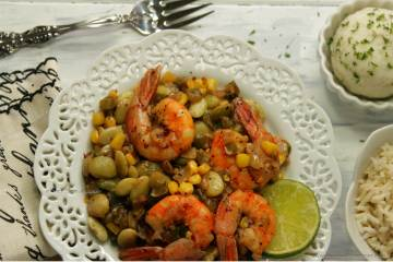 Spicy Shrimp Succotash -- hearty, easy, quick, nourishing and timeless