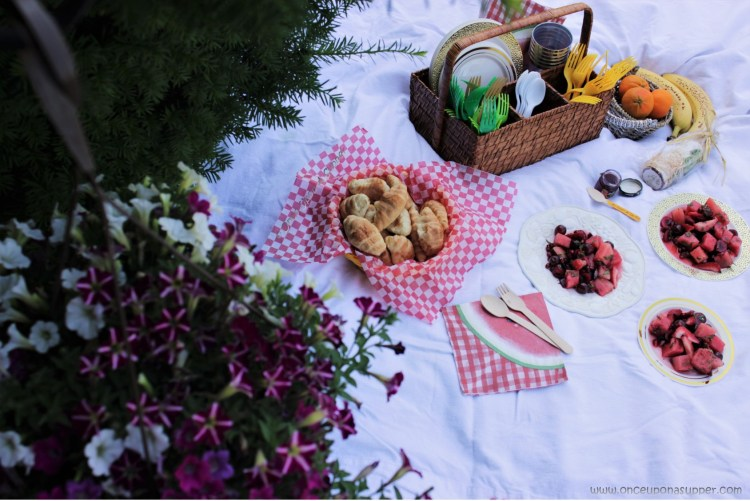 Ruby Red Fruit Mojito Salad, a picnic and a basket full of joy