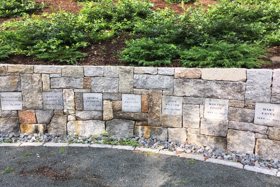 Proctor's Ledge Memorial name stones Salem