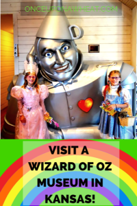 Wheat twins with Tin Man at OZ Museum pin