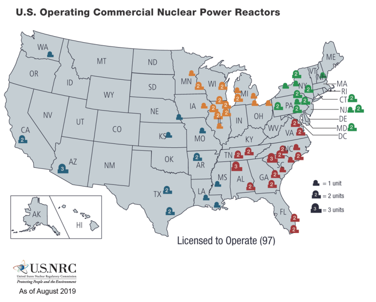 NRC nuclear power reactors in US