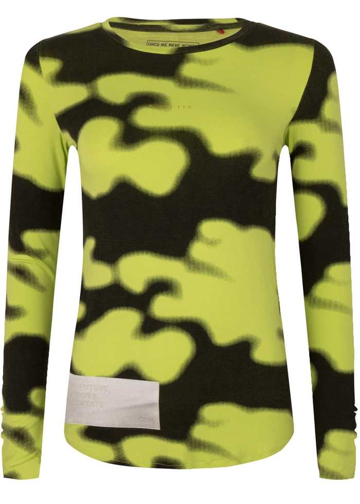 rumi tee acid lime camo print once we were warriors