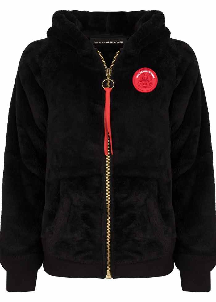 mashi teddy hoodie black fluffy once we were warriors