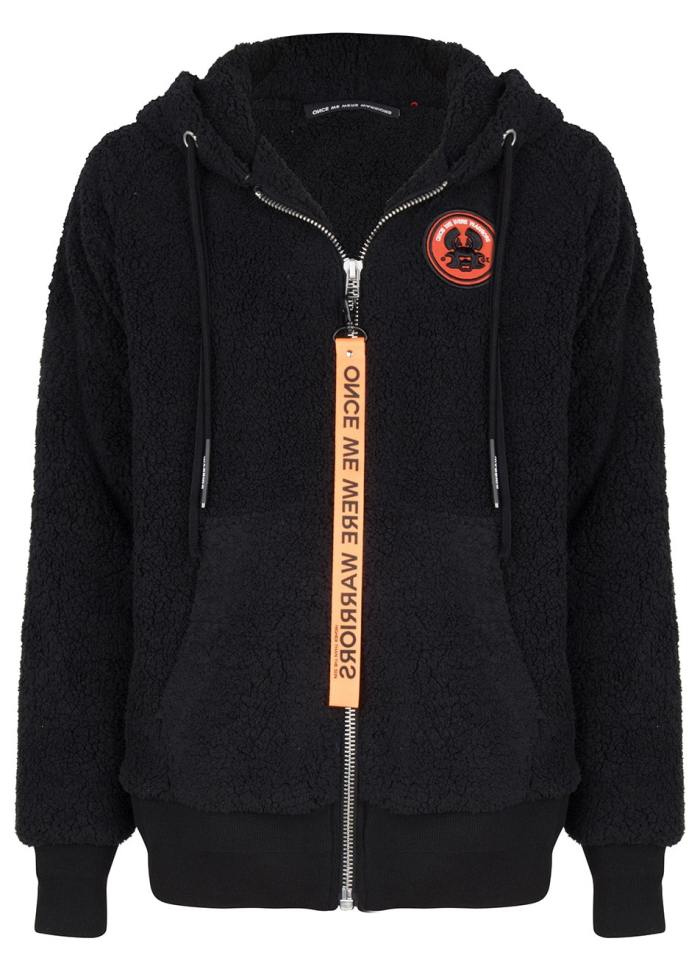 koru teddy zip hoodie black once we were warriors