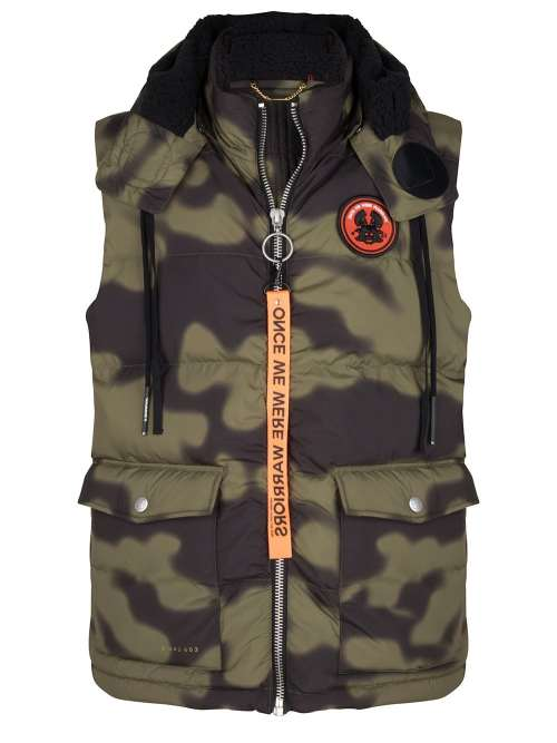 RYU LONGLINE PUFFER BODY JACKET OLIVE GREEN CAMO ONCE WE WERE WARRIORS