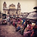A crowd gathers in the Parque Central in the centre of Guatemala City
