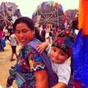 A Guatemalan mother and son at the Sumpango Kite Festival.