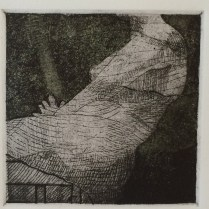 """Detail from """"Three Women."""" Etching with chine collé, 2013."""