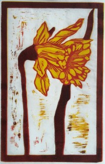 """""""Narcissus."""" Reduction woodcut."""