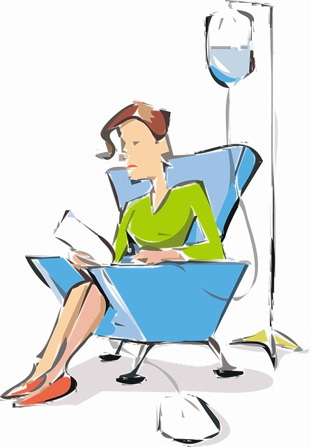 Graphic of woman in a chair getting a chemotherapy infusion