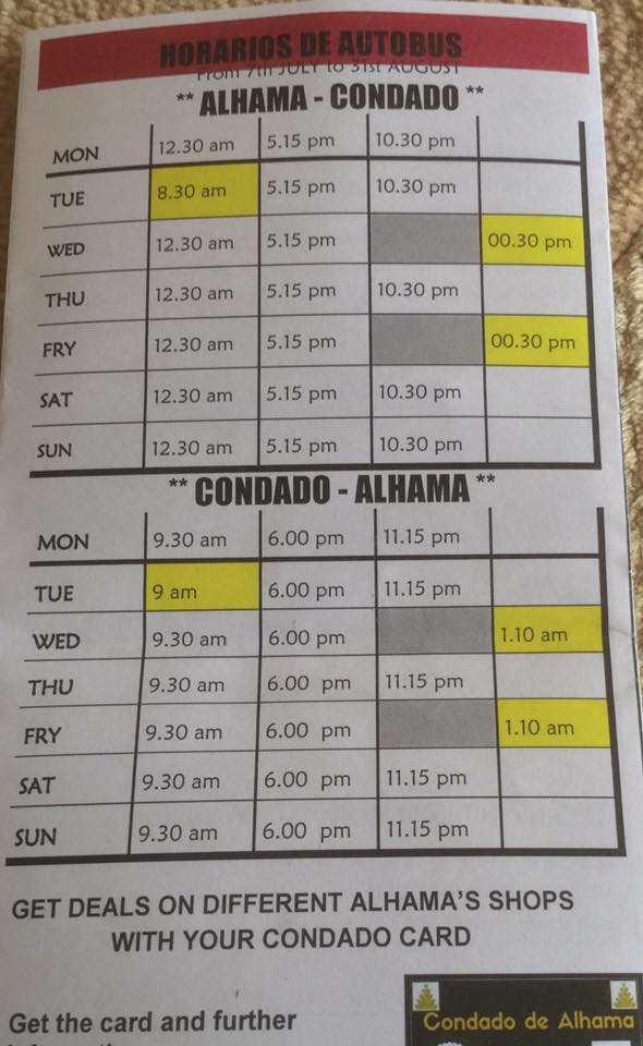 Free Bus to Alhama de Murcia - Timetable