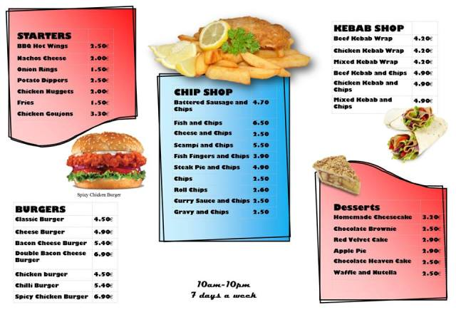 Takeaway menu - Big G's American Diner