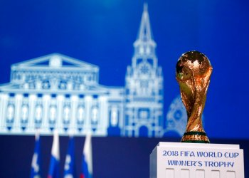 The World Cup trophy during the FIFA Congress just before the Championship's inauguration in Moscow, Wednesday June 13, 2018. Photo: Pavel Golovkin / AP.
