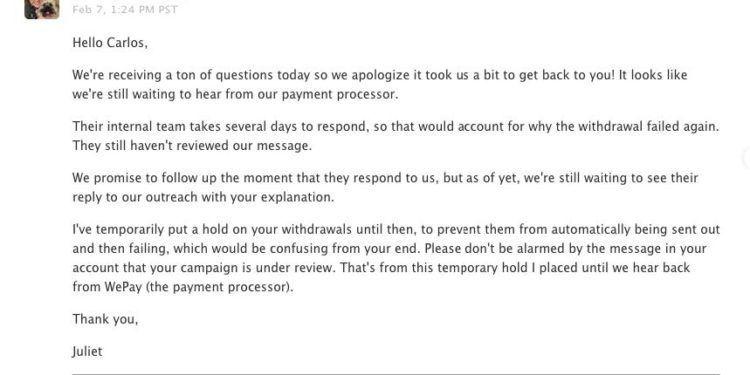 Screenshot of an email of GoFundMe to Carlos Lazo.