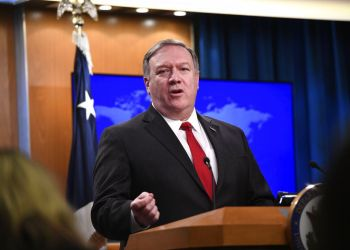 Secretary of State Mike Pompeo at a press conference at the State Department in Washington on March 26, 2019. Photo: Sait Serkan Gurbuz/AP.