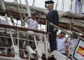The Spanish ambassador in Cuba, Juan Fernández Trigo, salutes his country's flag and the crew of the training ship.