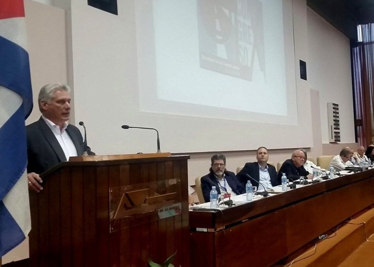 Cuban President Miguel Díaz-Canel speaking at the closing session of the 9th Congress of the Union of Writers and Artists of Cuba (UNEAC), on Sunday, June 30, 2019. Photo: @PresidenciaCuba / Twitter.