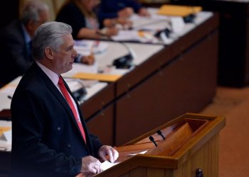 Cuban President Miguel Díaz-Canel addressing the National Assembly on Saturday, December 21, 2019. Photo: @PresidenciaCuba / Twitter.