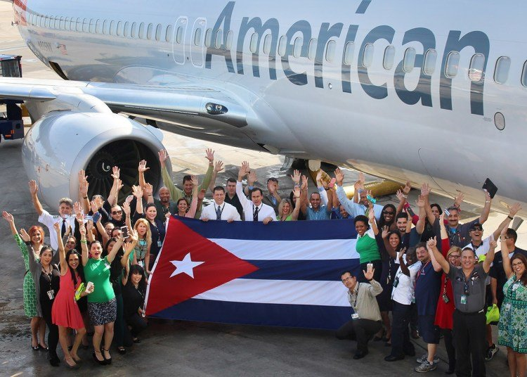 Arrival of the first American Airlines flight to Havana, on September 7, 2016. Photo: American Airlines/Archive.