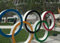 Olympic rings in front of the main stadium of the Tokyo 2020 Olympic and Paralympic Games. Photo: Reuters.