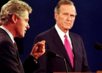 Debate between William Clinton and George Bush. Photo: PBS.