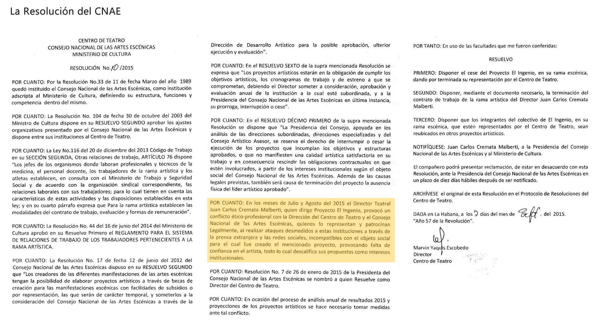 La resolución del CNAE