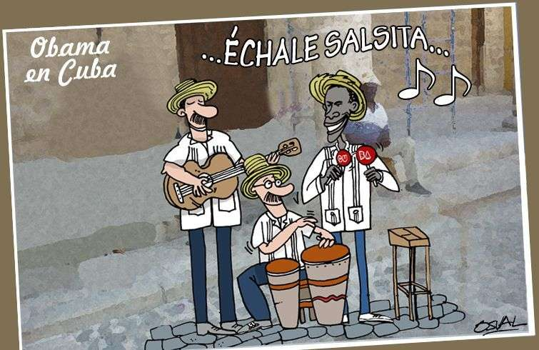 Obama y conjunto de musica tradicional