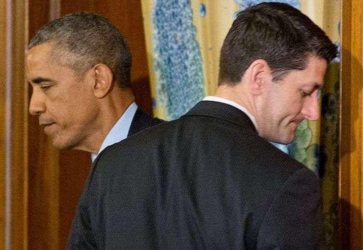 Barack Obama y Paul Ryan, speaker de la Cámara de Representantes. Foto: AP