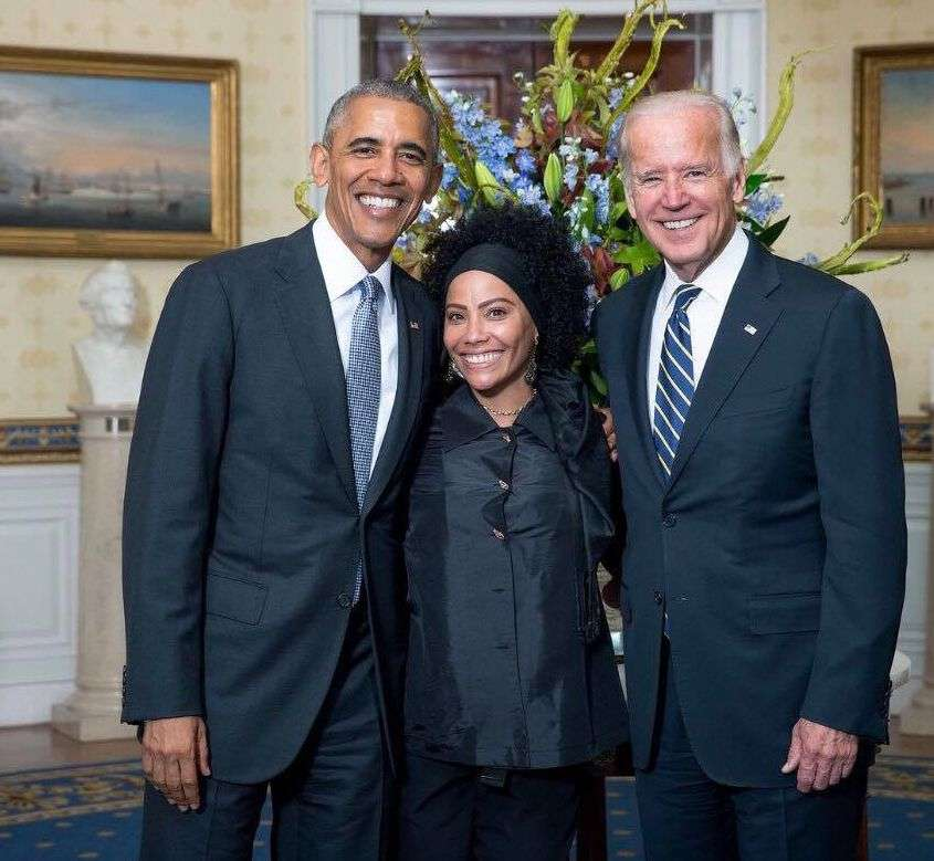 DJLeydis with Barack Obama and Vice President Joe Biden in the White House.