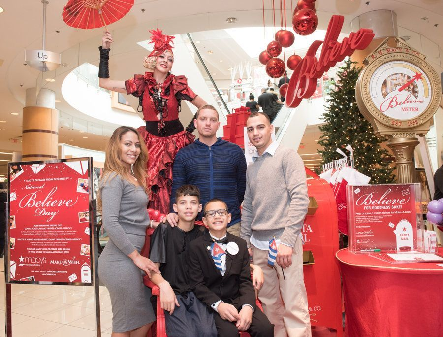 Tyler Machado and his family got together in Macy's, Jersey City, on Friday December 9, 2016, to celebrate that Make-A-Wish New Jersey had granted him the wish of visiting Cuba, where his father's family lives. Photo: Reena Rose Sibayan / The Jersey Journal.