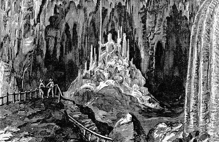 Grabado de las Cuevas de Bellamar publicado en 1865 por el New Harper's Monthly Magazine, de Nueva York.