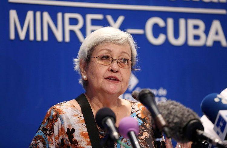 La experta de la ONU Virginia Dandan en la conferencia de prensa previa a su partida de Cuba. Foto: Reuters.