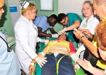 La mayoría de los heridos fueron en el accidente en Sancti Spiritus están siendo atendidos en el Hospital Provincial Universitario Camilo Cienfuegos de esa ciudad. Foto: Vicente Brito / Escambray.